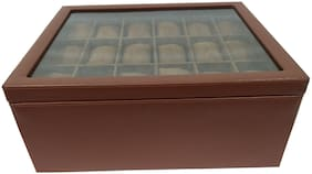 Essart Faux Leather Double Story Watch Box with Turn Lock Closure for 36 Watches -Tan
