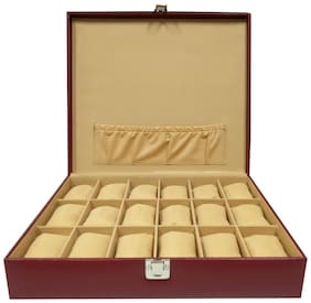 Essart PU Leather Watch Organiser Box for 18 Watches-Maroon