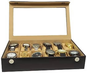Essart PU Leather Watch Organiser Box for 12 Watches-Black