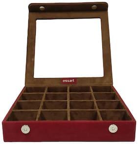 Essart PU Leather suede finish Makeup and Jewellery Box, Earring Box, Jewellery Makeup Vanity Mutli Purpose, Makeup & Cufflinks Box, Cufflinks Box Vanity Jewellery with 16 slots - Maroon