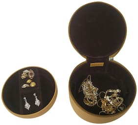 Essart PU Leather Jewellery organising box , Vanity Box, Makup & Jewellery Box , Multipurpose Jewellery Box - Yellow