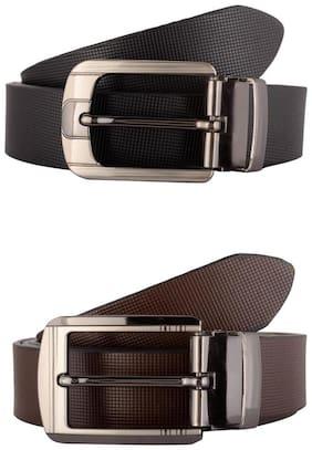Exotique Men's Black & Brown Formal Belt Combo (EC0033MU)