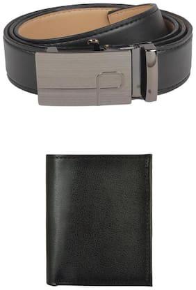 Exotique Men's Black Formal Belt & Wallet Combo (EC0002BK)