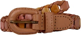 Exotique WoMen Beige Casual Faux Leather Belt (BW0017BG)