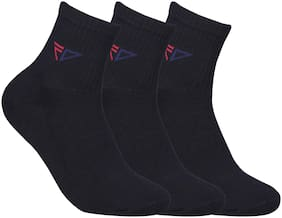 FABDON Black Cotton Crew length socks ( Pack of 3 )