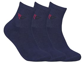 FABDON Blue Cotton Crew length socks ( Pack of 3 )