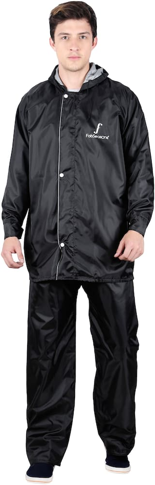 Fabseasons Men Nylon Black Rain Suit ( Xl , Pack of 2 )