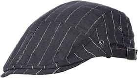 FabSeasons Black Cotton Golf Flat Cap with adjustable size strap