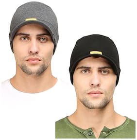 FabSeasons Cotton Skull Cap with Peak;ideal for all Summer & Winters. Combo Pack of 2 (Black;Dark Gray)