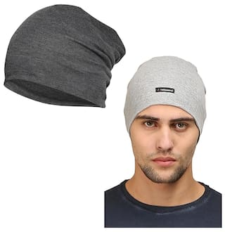 Buy FabSeasons Combo Pack of 2 Skull cap and Beanie Cap of Cotton ... 102514ff411