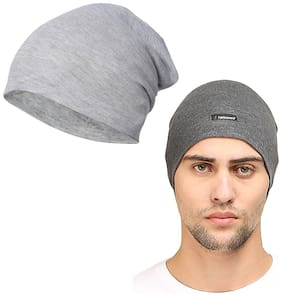 FabSeasons Combo Pack of 2;Skull cap and Beanie Cap of Cotton