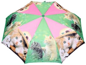 FabSeasons Cute Cats and Kittens Teddy Print 3 fold Umbrella for Rains and all Seasons