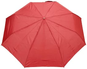 FabSeasons Solid Maroon 3 Fold Fancy Umbrella for Rain;Summer & All weather conditions