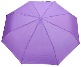 FabSeasons Solid Purple 3 Fold Fancy Umbrella for Rain;Summer & All weather conditions