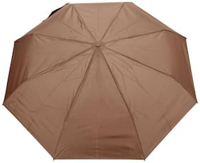 FabSeasons Solid Brown 3 Fold Fancy Umbrella for Rain;Summer & All weather conditions