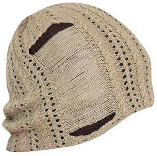d74bdb75350 Fabseasons Unisex Beige Acrylic Woolen Slouchy Beanie And Skull Cap For  Winters