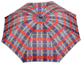 FabSeasons Unisex Blue Checks Print;3 Fold Fancy Manual Umbrella for Rain;Summer & All weather conditions