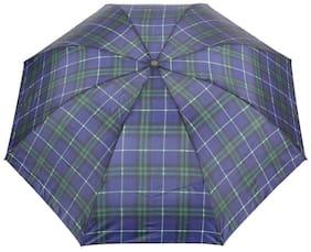 FabSeasons Unisex Blue Checks Print;3 Fold Fancy Manual Umbrella for Rain;Summer & All weather conditions