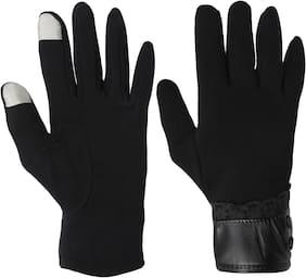 Fabseasons Women Wool Gloves - Black