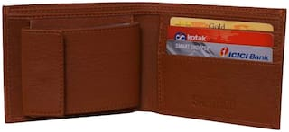 Fashion Men Bifold Leather Wallet ID Credit Card Holder Purse (Brown)