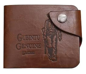 Fashion Men Genuine Leather Bifold Wallet Card Holder Coin Purse Brown