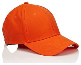 Fashionable Look Orange Cotton baseball Cap