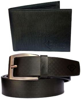 Fashius Black Pu Leather Belt Wallet Combo of 2