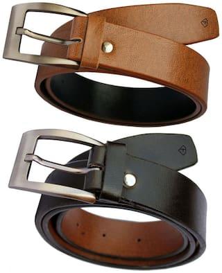 Fashius Multi PU Leather Belts combo of 2