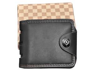 Fashlook Black Plain Bi-fold Wallet For Men