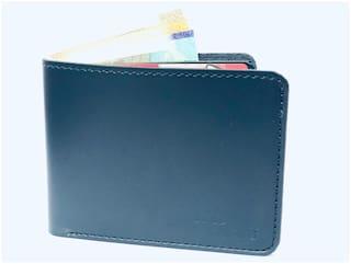 FASHLOOK Men Blue Leather Solid Slim Money Clips Wallet