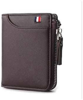 FASHLOOK Men Brown Leather Zip Around Wallet ( Pack of 1 )