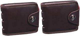 FASHLOOK Men Brown Leather Bi-Fold Wallet ( Pack of 2 )