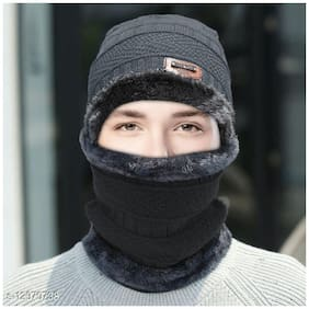 Fashlook Grey Cap With Muffler (Balaclava)