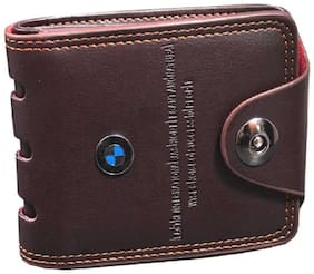 Men Synthetic Leather Bi-Fold Wallet ( Coffee Brown )