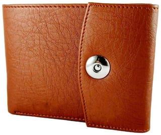 FASHLOOK Men Tan Leather Solid 2 Way Tracking Bi-Fold Wallet