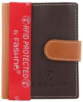Fashno Brown Unisex Genuine Leather RFID Credit Card Holder
