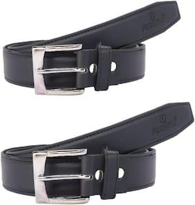 Fashno Combo Of  Men's Black Genuine PU Leather Belt (Pack of 2)