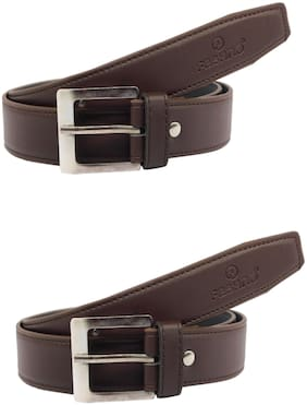 Fashno Combo Of Men's Brown Genuine PU Leather Belt (Pack of 2)