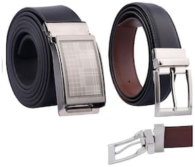 Fashno Men Black Leather Belt (Size: Free size , Pack of 2 )