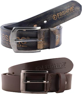 Fashno Combo Of Pure Leather Belts Black And Brown