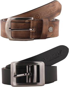 Fashno Combo Of  Men Wooden Grey And Black Genuine Leather Belt
