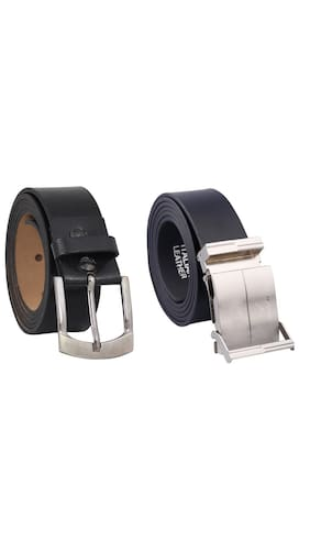 Fashno Combo Of Black Formal and Adjustable Leather Belt(L*B - 48*1.5 in inches)(Ideal for 26 to 46 waist size)