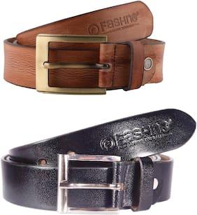 Fashno Men Brown & Black Leather Belt (Size: Free size , Pack of 2 )