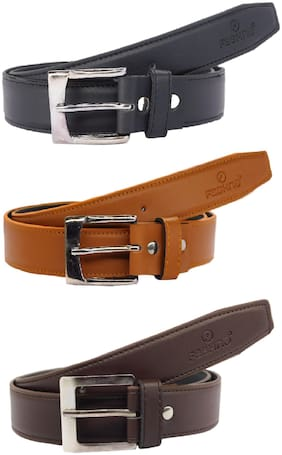 Fashno Combo Of Men's Black Genuine PU Leather Belt (Pack Of 3)