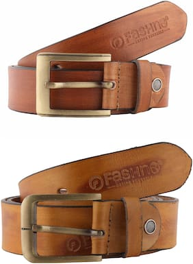 Fashno Combo Of Brown And Tan Genuine Leather Belts