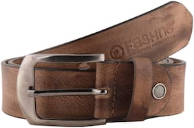 Fashno Men Grey  Casual Genuine  Leather Belt