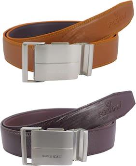 Fashno Men Tan & Brown Pu Belt (Size: Free size , Pack of 2 )