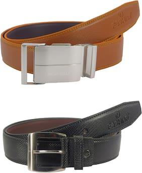 Fashno Men Tan & Black Pu Belt (Size: Free size , Pack of 2 )