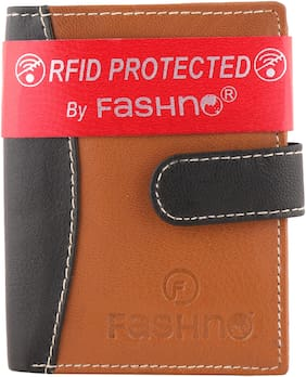 Fashno TAN  BROWN Unisex Genuine Leather RFID Credit Card Holder Wallet