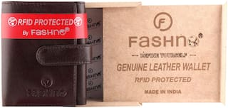 Fashno Men's Brown Genuine Leather Wallet RFID Protected